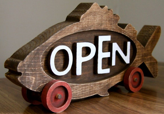 sided Open Sign Closed rustic sign  Rustic two and open closed Fish