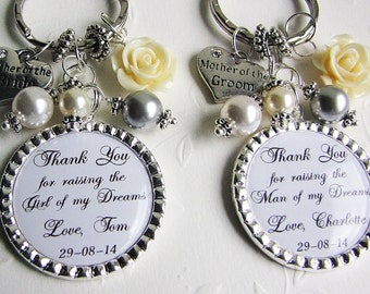 Mother-of-the-Bride and Groom Gifts Set of 2 Wedding gifts for Mother-in-Law Personalized Keychains or Personalized Necklaces Custom Quotes