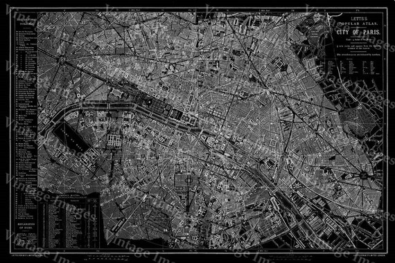 Giant 1883 historic paris map black and white map antique like this item sciox Image collections