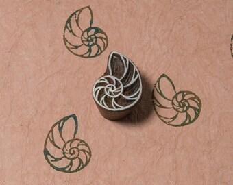 Indian Wood Stamp, Nautilus Shell