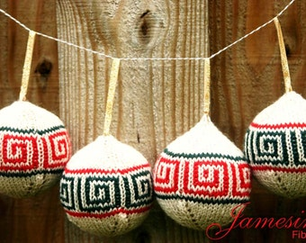 Hand Knit Sanquhar Colorwork Roman Key Design Christmas Ornament