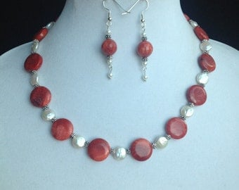 Coral Necklace with Freshwater Coin Pearls and Bracelet