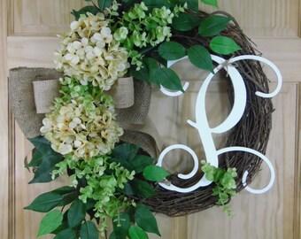 Spring Wreath - Summer Wreath - ivory Hydrangea Wreath - Grapevine Wreath - mothers day - housewarming