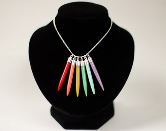 Rainbow knitting needle necklace. Statement necklace. Pendant necklace. Knitters gift. Yarn lovers gift. Colorful. Upcycled necklace. Unique