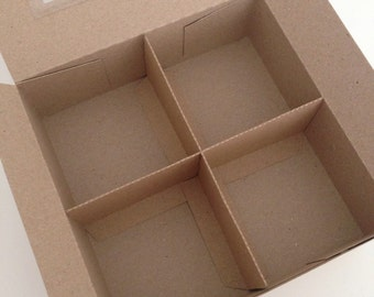 Divided Square Gift Presentation Box with 2 Removable Insert Dividers With or Without Window (10) Recycled Kraft Card