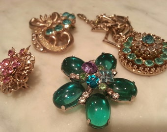 Vintage brooches and Coro necklace