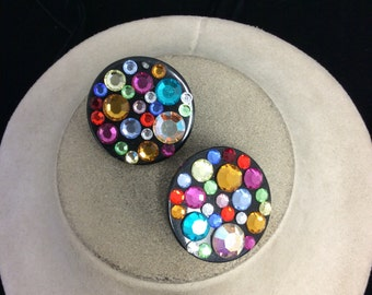 Vintage Multi Colored Rhinestone Earrings