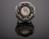 """Handmade Sterling Silver Ring with Pearl Stone """"Byzantine Style"""""""