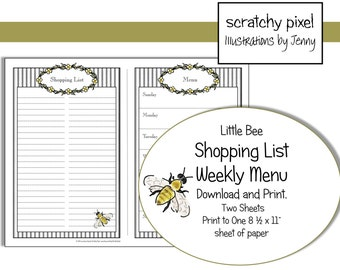 Printable Shopping List and Menu ~ Printable Instant Download