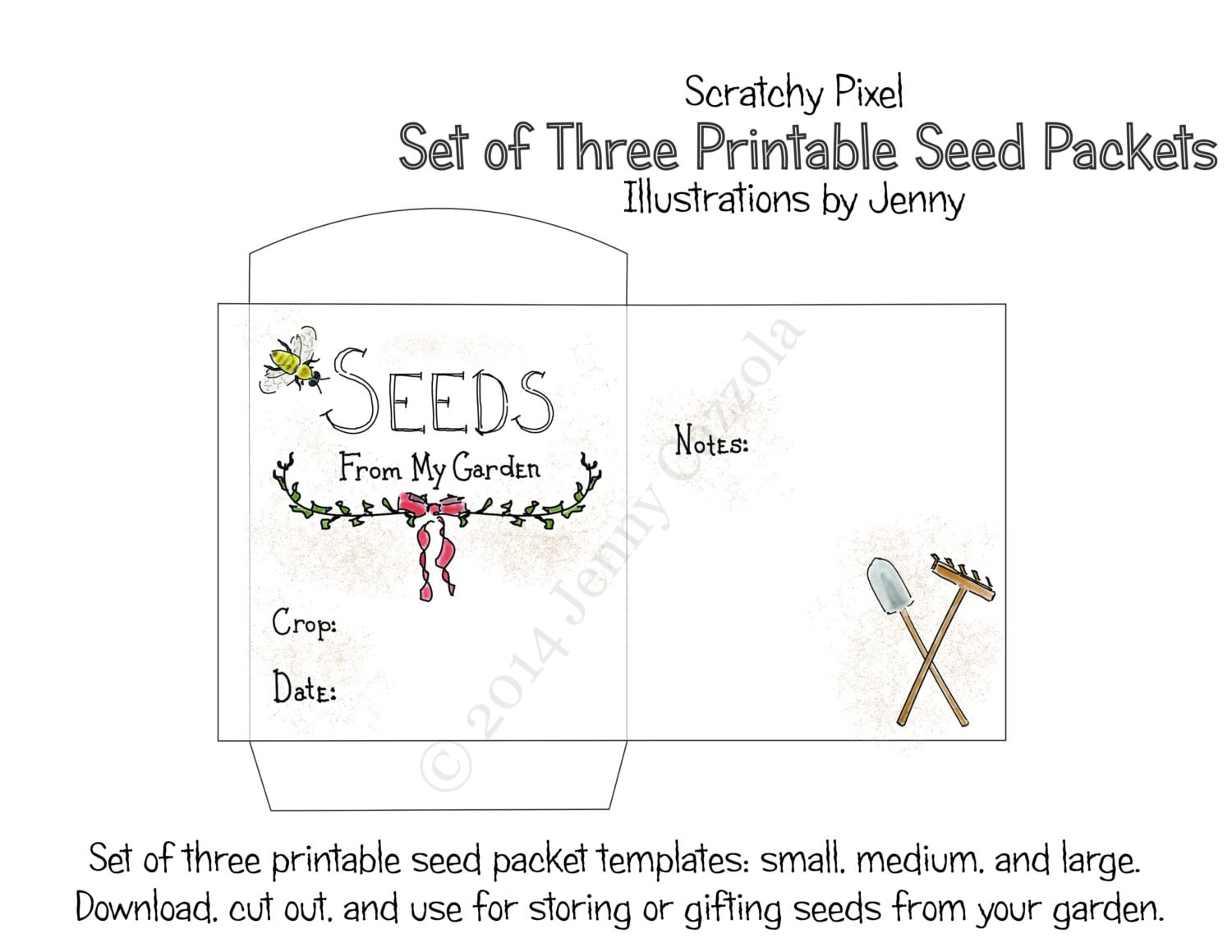 Printable seed packet set small medium large pdf instant for Blank seed packet template