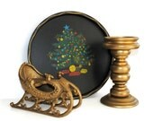 Nashco Christmas Tray, Die Cast Iron Gold Sleigh, Gold Candle Holder CHRISTMAS DECOR - (#100.23)
