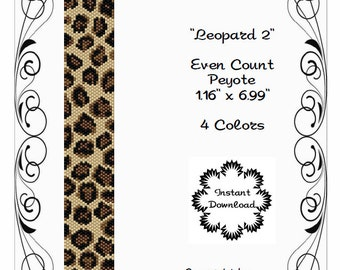 Peyote Bracelet Pattern, Animal Print, Leopard using Miyuki 11/0 Delica beads