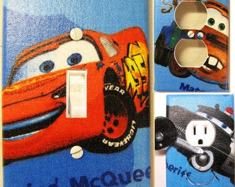 Disney Cars on Blue Light Switch and Outlet Covers