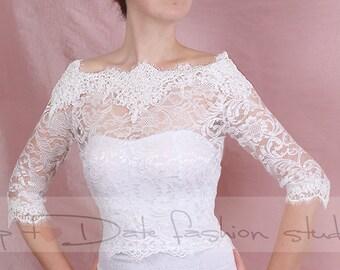 Bridal  lace  Off-Shoulder / French Lace/ wedding jacket/ Bolero shrug/  jacket /bridal lace top