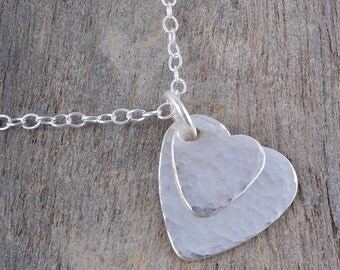 Sterling Silver Double Hammered Heart Necklace Pendant Charm Handmade charm chain