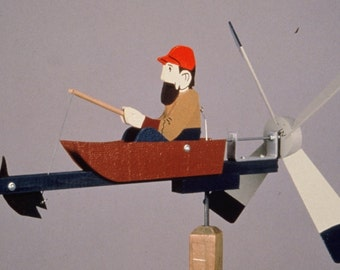"""man fishing whirligig cedar, PT pine; painted, ready to mount - includes 18"""" mounting post"""