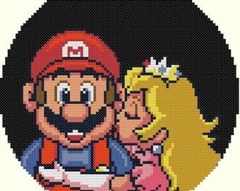 Princess Peach Kissing Mario Cross Stitch Pattern-Mario Bros, Mario, Princess Peach, Video Games