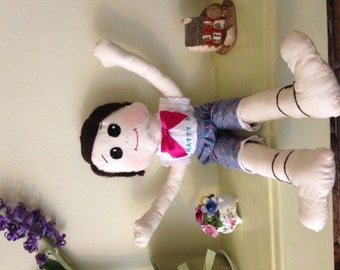 "Boy Rag Doll wearing white shirt, red bow tie and blue cut off pants 20"" high, can personalize"