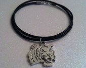 Tiger charm necklace, silver metal tiget charm on a leather cord necklace, gifts for him, tiger charms