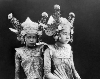 Young Balinese Dancers, Indonesia, (1929) Bali- Girl Dancers-Costumes  Photo Print