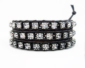 Rhinestone Leather Wrap Bracelet - Silver