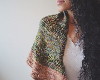 Marsh Sunset Shawl - knit, scarf, green and brown shades , variegated, winter, fall, spring