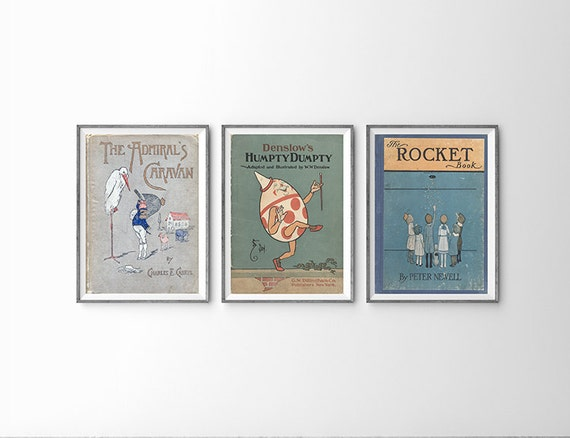 Book Cover Wall Art : Kids room wall art vintage book cover