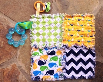 Nautical lovey security blanket rag quilt - whales - boats - ships - blue yellow green
