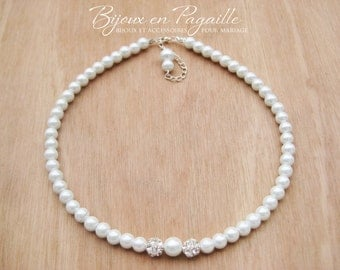 Necklace - pearls and rhinestones - wedding jewelry wedding