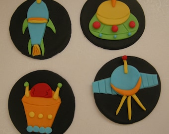 Space Rocket Cupcake Topper