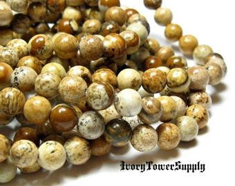 1 Strand 6mm Picture Jasper Beads, Gemstone Beads, Natural Stone Beads, Brown Beads, Semi Precious Beads, Round Beads