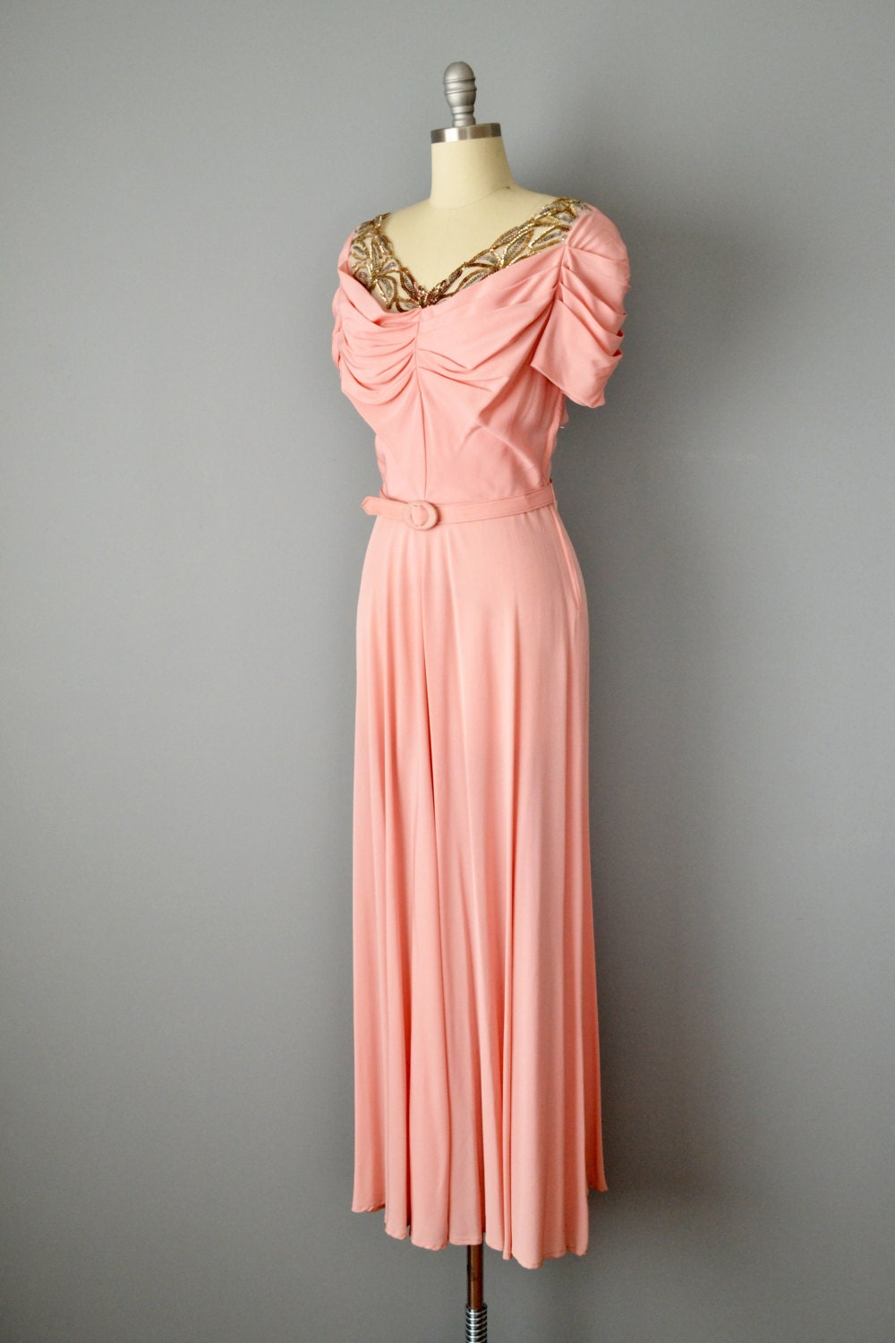 A Royal Night Out: 1940s Emma Domb Pink Silk Crepe and Sequin Gown