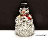 "RARE Estee Lauder SPARKLING SNOWMAN solid perfume collectible full of original ""Beautiful"" perfume"