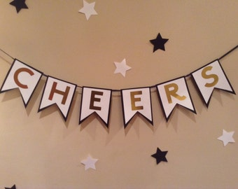 Cheers Banner-Black-White-Gold-Party-New Year's Eve Banner