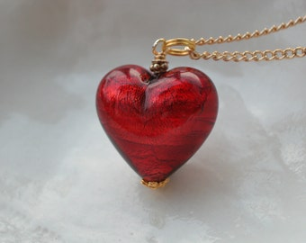 Venetian Murano Glass Red Heart Necklace