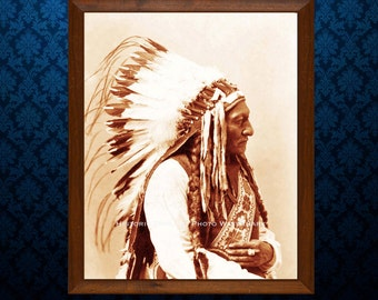 Native American Vintage Photo Sioux Indian Chief Sitting Bull 1885