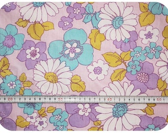 Floral retro vintage fabric - purple, turquoise and lime green