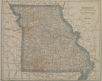 Missouri Map St Louis Kansas City Jackson Usa Atlas Wall Map Art United