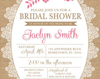 Burlap and Lace Bridal Shower Invitation