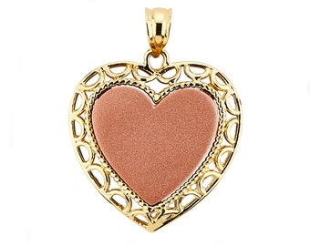 14K Two-Tone Heart Pendant, Heart Pendant, Heart Jewelry, Love Jewelry, Gold Heart, Rose Heart, Two Tone Heart, Gold Pendant, Heart