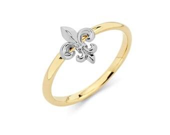 14K Two-Tone Fleur-de-lis Ring, Fleur-de-lis Ring, Fleur-de-lis Jewelry, Floral Ring, Floral Jewelry, Gold Ring, Fleur-de-lis, Ring, Gold
