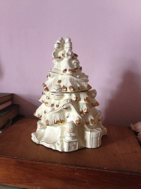 Christmas Tree Cookie Jar....very Elegant....with Gold Trim And Pearls...by  Baum Brothers Formalities...stamped On The Bottom. This Is A Beautiful  Shabby ...