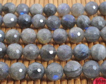 48 pcs of Natural Labradorite faceted round beads in 8mm