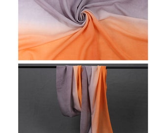 100% Wool Scarf with Gradient Colors - Green and Yellow Gradient Wool Scarf - Gray and Orange Gradient Wool Scarf - Wool W-1