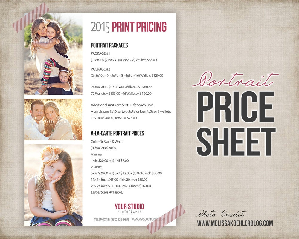 Photography Portrait Price List Photo Price Sheet Marketing – Pricing Sheet Template
