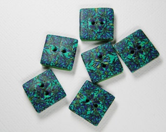 Polymer Clay Millefiori Scramble Square Buttons