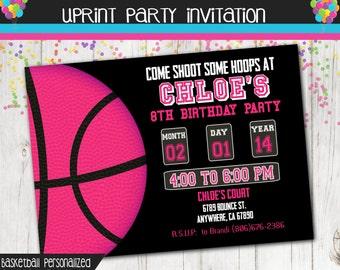 Basketball Party - Basketball Invitation  - Sports Invitation Girl