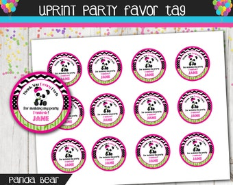 Personalized Panda Bear - Thank You - Favor Tag - Printable - 2 inch or 2.5 inch Circle