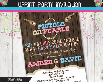 Pistol or Pearls Gender Reveal Party Invitation  - Pink and Blue - Boy or Girl -  Printable - Chalkboard  - Western - Cowboy - Cowgirl