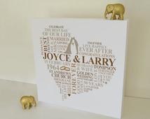 Personalised 50th Wedding Anniversary Gift : Wedding Anniversary gift. Personalised Word Art. 50th anniversary gift ...